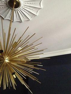 Meredith Heron Design Custom Plaster Ceiling Medallion Grasscloth  #Hurndale