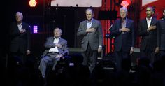 ​The five living former presidents appeared together for the first time since 2013 on Saturday at a concert to raise money for victims of devastating hurricanes in Texas, Florida, Puerto Rico and the U.S. Virgin Islands.