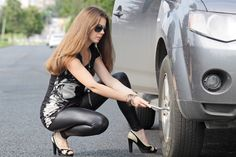 "Always ensure your spare tyre is correctly inflated. do not use a ""Space Saver"" tyre as a permanent replacement Car Wallpapers, Hd Wallpaper, Flat Tire, Cute Cars, Car Girls, Thighs, Leather Pants, Sporty, Legs"