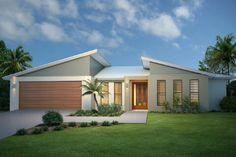 """Képtalálat a következőre: """"skillion roof facade"""" Flat Roof House, Facade House, House Exteriors, Home Design, Modern House Design, Design Design, Roof Architecture, Architecture Details, Facade Design"""