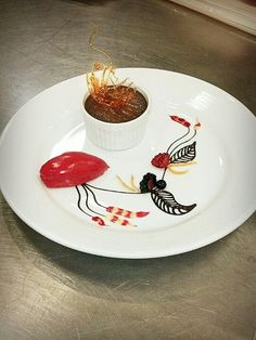 Plated dessert of the day Chocolate creme do pots with raspberry sorbet! D & Dessert Plating Decoration Ideas - Dessert Design - Plate Decoration ...