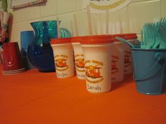 Daniel Tiger Cups as favors from the Mister Roger's Neighborhood website, only $1 a piece - Madison's 2nd birthday