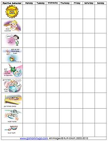 A good behavior chart with dozens of clipart images for different chores so you can customize it.