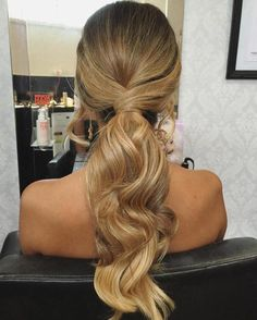 Messy Ponytail Hairstyles, Formal Hairstyles For Long Hair, Wavy Ponytail, Long Ponytails, Diy Hairstyles, Wedding Hairstyles, Hairstyle Ideas, Bridesmaid Hair Ponytail, Prom Updo