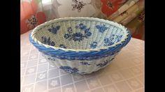 DIY Newspaper Basket Weaving with Decoupage ENGLISH SUBTITLES