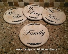 Four Piece Sandstone Coaster set with Iron rack by giftsby3jpawprints. Explore more products on http://giftsby3jpawprints.etsy.com