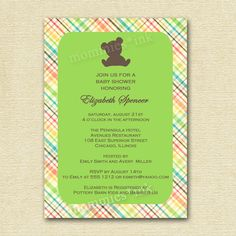 Mod Rainbow Plaid Teddy Bear Baby Shower Invitation - Customizable - PRINTABLE INVITATION DESIGN by MommiesInk on Etsy https://www.etsy.com/listing/67278690/mod-rainbow-plaid-teddy-bear-baby-shower