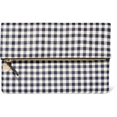 Clare V Supreme gingham leather clutch ($141) ❤ liked on Polyvore featuring bags, handbags, clutches, navy, white purse, leather clutches, white handbags, white clutches and vintage purses