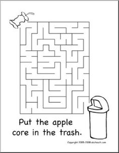 Maze: Earth Day 2 (easy) - Put the apple core in the trash can. Earth Day Worksheets, Earth Day Activities, Spring Activities, Teaching Activities, Worksheets For Kids, Teaching Tools, Apple Activities, Therapy Activities, Art Activities