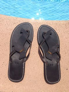 Dachshund Flip Flops Shoes Leather gift handmade by Anvali on Etsy