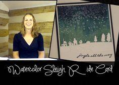 Watercolor Sleigh Ride Christmas Card