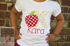 Girls Back to School Shirt-- Apple of My Eye -- personalized shirt with shabby apple -- perfect for starting Kindergarten