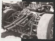 x2 1967 FORD GT40 CHASSIS #1003 UP CLOSE ENGINE SHOT ORIGINAL PERIOD PHOTOGRAPH