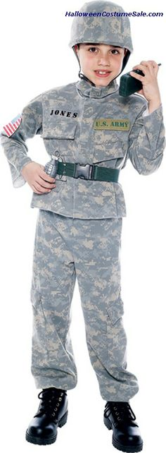 Camouflaged top and bottom with matching helmet. Patriotic Costumes, Us Army Infantry, Camouflage Tops, Helmet, Children, Young Children, Boys, Hockey Helmet, Kids