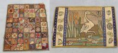 2 Circa 1900 American Folk Art Hooked Rugs