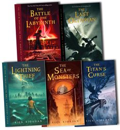 percy jackson and the olympians series.♡ these books were amazing! ive loved them since the last olympian came out! and they were waaay better than the movies tbh. Rick Riordan Bücher, Rick Riordan Books, Percy Jackson Books, Percy Jackson Fandom, The Titan's Curse, The Last Olympian, Sea Of Monsters, The Lightning Thief, Young Adult Fiction