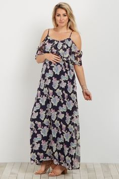 This is a must need for your closet this season. This floral chiffon maternity dress will keep you on trend with the cold shoulder detail. Pair this with wedges and a statement necklace to look amazing.
