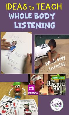 Make learning whole body listening skills fun with these interactive activities for elementary students! Important for social skills and academic success. Social Skills Lessons, Social Skills Activities, Teaching Social Skills, Vocabulary Activities, Social Emotional Learning, Speech Therapy Activities, Interactive Activities, Emotions Activities, Articulation Activities