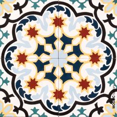 Multicoloured cement tile with classic arabic decorative tile pattern from Mosaic Factory's CLASSIC collection Mosaic Tiles, Cement Tiles, Wall Tiles, Arabic Decor, Cement Crafts, Tiles Online, Tile Murals, Ceramic Art, Ceramic Pottery