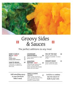 Groovy Sides & Sauces Halaal Menu - The perfect additions to any meal. Onion Ring Batter, Creamy Mash, Onion Rings, Sauces, Bacon, Rolls, Veggies, Menu, Kitchen