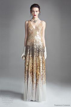 Gold dress long sleeve 20s glam