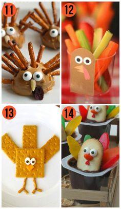 Fun Thanksgiving Snack Ideas! Darling turkey food ideas for kids. Fun family thanksgiving ideas.