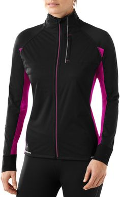 The women's SmartWool PhD Run Divide jacket uses windproof panels to guard heat when its cold outside.