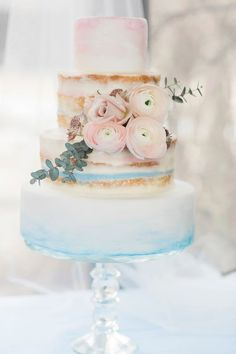 Serenity & Rose Quartz Naked Wedding Cake