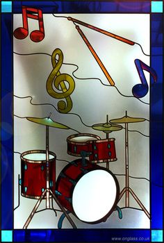 Drum kit and music fan stained glass window Custom Stained Glass, Faux Stained Glass, Stained Glass Designs, Stained Glass Panels, Stained Glass Patterns, Stained Glass Suncatchers, Stained Glass Projects, Mosaic Glass, Fused Glass