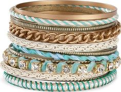stacked bracelets, color combos, tiffany blue, color combinations, carolina blue, aqua, accessories, arm candies, bangle bracelets