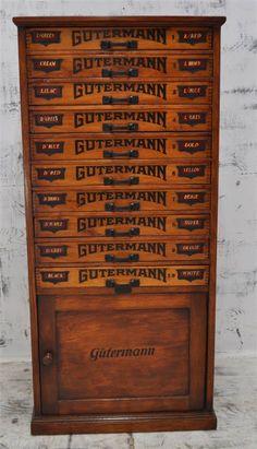 Gutterman Sewing Thread Pine Cabinet
