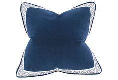 Barclay Butera | Emerson 22x22 Velvet Pillow, Navy | velvet, feather/down | 340.00 retail