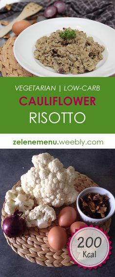 Low calories and low carb vegetable risotto with mushrooms and oregano.