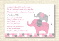 Pink Elephant Baby Shower Invitation by LittlePrintsParties, $10.00