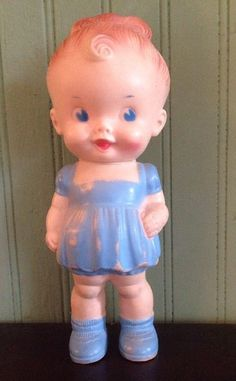 Vtg 1950s Rubber Doll Blue Dress Girl Bun Ruth E Newton Squeak Sun Rubber Co