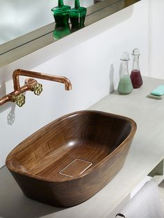 Small bathroom design asks for a beautiful, unique and modern bathroom sink and stylish faucets that enhance small space Modern Bathroom Sink, Modern Sink, Wooden Bathroom, Bathroom Wall Decor, Bathroom Furniture, Bathroom Storage, Bathroom Ideas, Bathroom Sinks, Bathroom Interior
