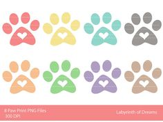 Paw Print with Heart Digital Clip art