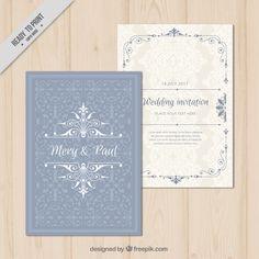 Invitación de boda ornamental elegante Vector Premium