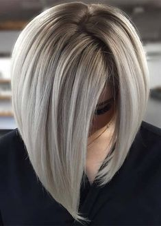 Sleek and Glossy Blonde Balayage Bob - 70 Perfect Medium Length Hairstyles for Thin Hair in 2019 - The Trending Hairstyle - Page 18 Blonde Balayage Bob, Hair Color Balayage, Icy Blonde, Bronde Lob, Grey Blonde Hair, Honey Balayage, Blonde Color, Blonde Brunette, Medium Hair Styles