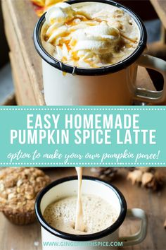 Don't spend money on expensive Starbucks anymore - you can get a perfectly delicious and super easy Pumpkin Spice Latte in the comfort of your own home! Including how to make it even cheaper with homemade pumpkin puree and pumpkin pie spice. #pumpkin #pumpkinspicelatte #psl #coffee