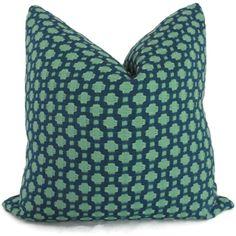 Schumacher Betwixt in Peacock Decorative Pillow Cover, Toss Pillow, Accent Pillow, Throw Pillow