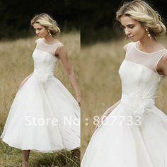 Elegant strapless sexy sheer boat neck tea length short beach wedding dress-in Wedding Dresses from Apparel & Accessories on Aliexpress.com