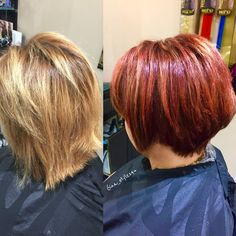 Red copper hair color fall hair balayage hairpainting before and after no more summer blonde short stacked bob style