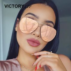 Cheap aviator mirror, Buy Quality rose gold sunglasses women directly from China womens aviators Suppliers: VictoryLip 2017 Rose Gold Sunglasses Women Aviation Mirror Brand Designer Metal Frame Sun Glasses Flat Lens Pilot Hot Dropship Types Of Sunglasses, Sun With Sunglasses, Mirrored Aviator Sunglasses, Mirrored Aviators, Oversized Sunglasses, Cat Eye Sunglasses, Sunglasses Women, Gold Sunglasses, Reflective Sunglasses