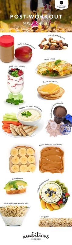12 Healthy Post Workout Snacks -- provides great options for refueling your muscles! Great options! Nutrition Sportive, Post Workout Snacks, Workout Meals, Workout Tips, After Workout Snack, Fat Workout, Workout Fitness, Snacks Saludables, Fat Loss Diet