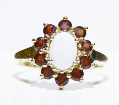 Vintage Opal and Garnet Floral Ring 14k Yellow by LadyLibertyGold