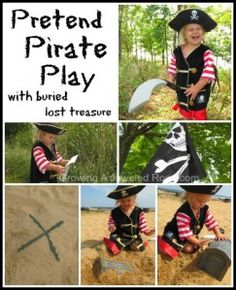 Pretend Pirate play with buried lost treasure-  don't forget x marks the spot! so much fun!