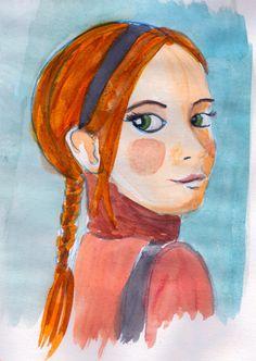 Watercolor illustration. Green eyes. Girl.