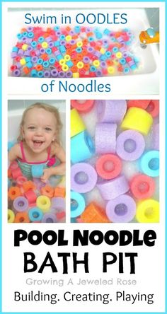 Swim in OODLES of noodles with a Pool Noodle Bath Pit!  Simple & frugal fun that lends itself to tons learning activities.  Build, sort, stack, order, graph, pattern, PLAY!