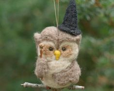 Naald vilten Owl Ornament - heks